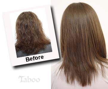 Girl models the new method of permanent hair straightening - Salon straightening treatments ...