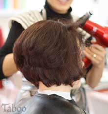 Wellington hairdresser completing bob cut hairstyle at Taboo Salon in Karori