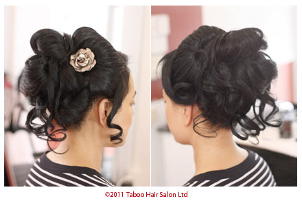 Hairup design with long black hair