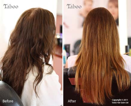 Ombre highlight before and after photos